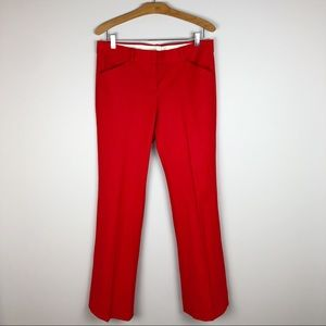 Theory Red Straight Leg Trouser Pant Size 10